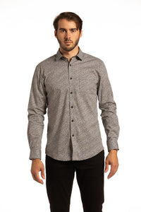Monaghan Stretch Printed Poplin Shirt in Black
