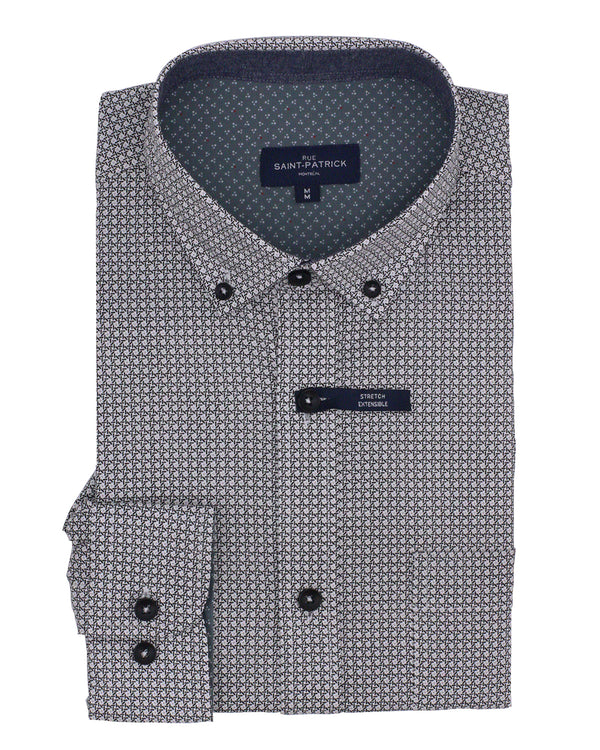 Monaghan Latticework Stretch Printed Poplin Shirt in Multi Grey