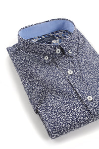 Saintfield Short Sleeve Floral Shirt in Navy and White