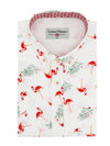 Ayr Flamingo Print Short Sleeve Shirt in White
