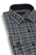Rathfriland Flannel Shirt in Light Blue and Grey