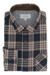 Portadown Flannel Shirt in Navy and Chestnut