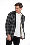 Drumcliff Sherpa Lined Overshirt in Black / Grey Flannel Check