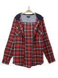 Dungiven Hooded Flannel Shirt in Red and Navy