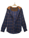 Ballylumford Hooded Flannel Shirt in Navy and Ginger