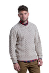 Worsted Wool Crewneck Sweater in Oatmeal
