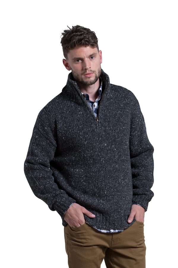 Zip Front Mockneck Donegal Wool Sweater in Fishermans Grey