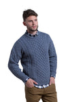 Merino Wool Crewneck Sweater in Denim Blue