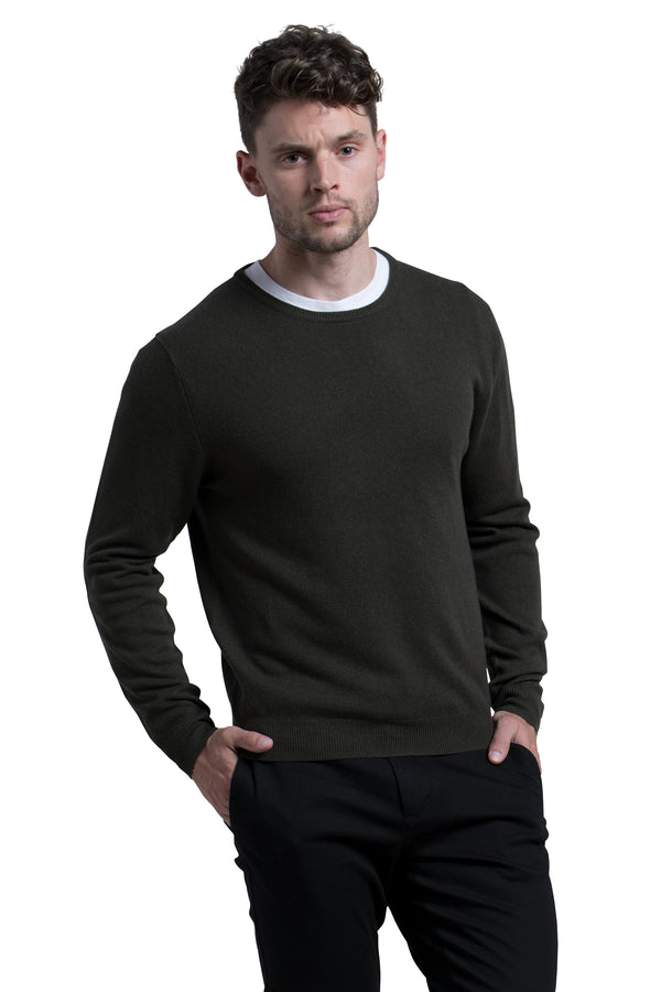 Crewneck Cashmere Blend Sweater in Military Green