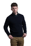 Crewneck Cashmere Blend Sweater in Navy
