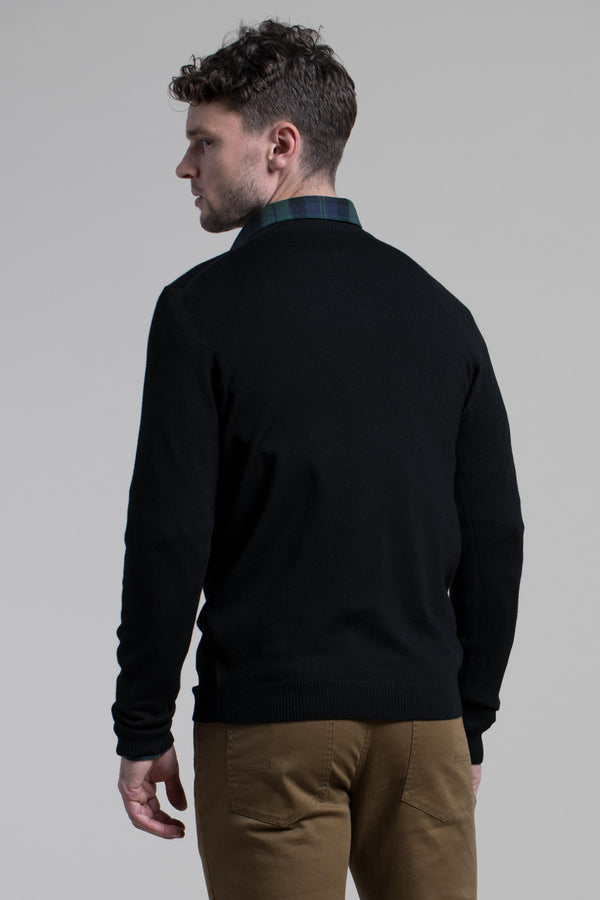 V-Neck Merino Wool Sweater in Black
