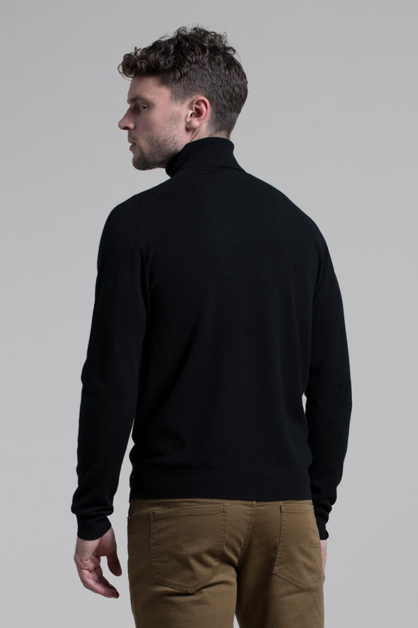 Turtleneck Cashmere Blend Sweater in Black