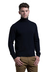 Turtleneck Cashmere Blend Sweater in Midnight Blue