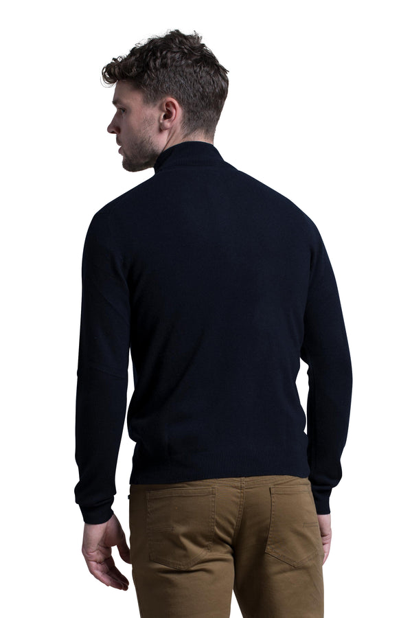 Mockneck Cashmere Blend Sweater in Midnight Blue
