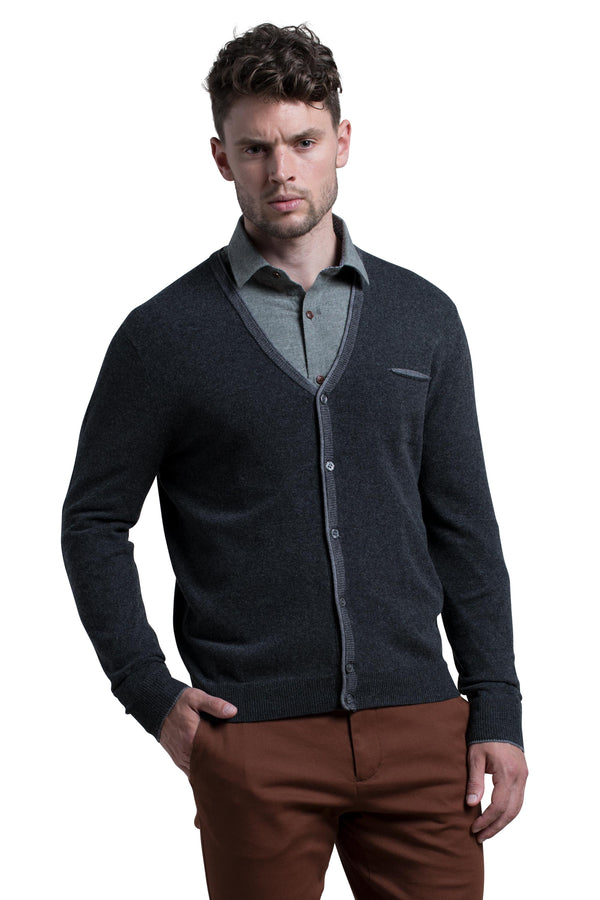 Button Front Cardigan in Charcoal