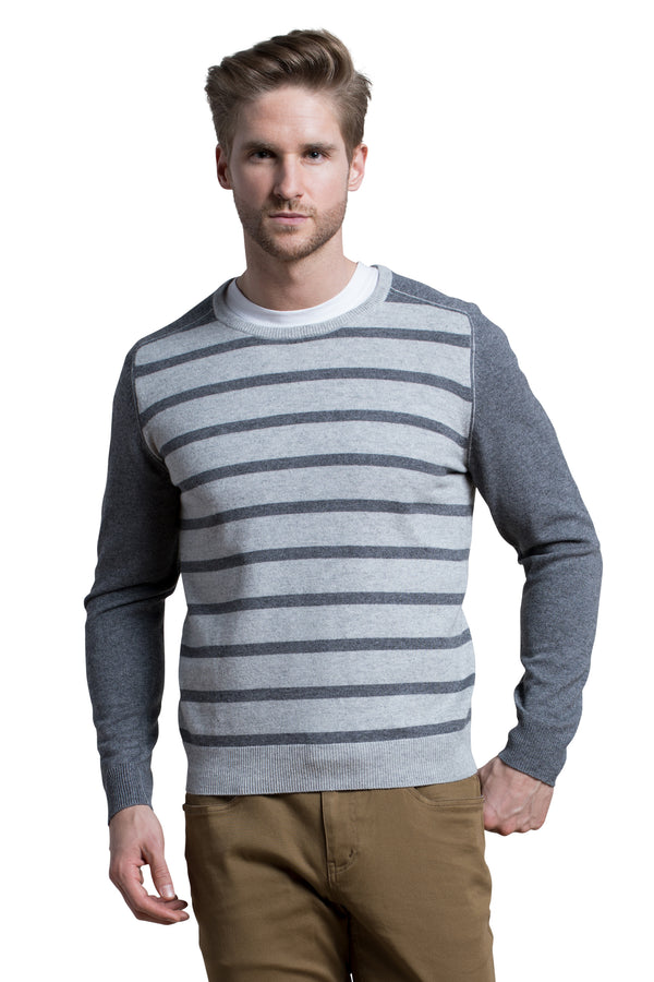 Striped Crewneck Sweater in Slate Gray / Granite