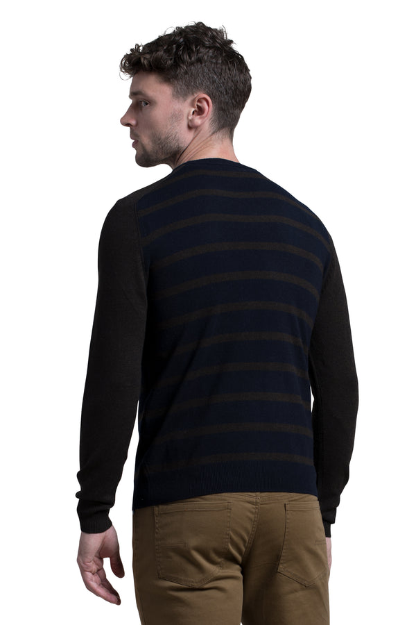 Striped Crewneck Sweater in Navy