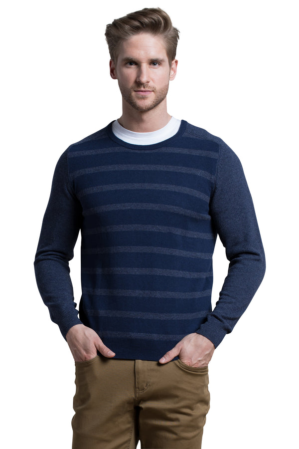 Striped Crewneck Sweater in Navy / Denim Blue
