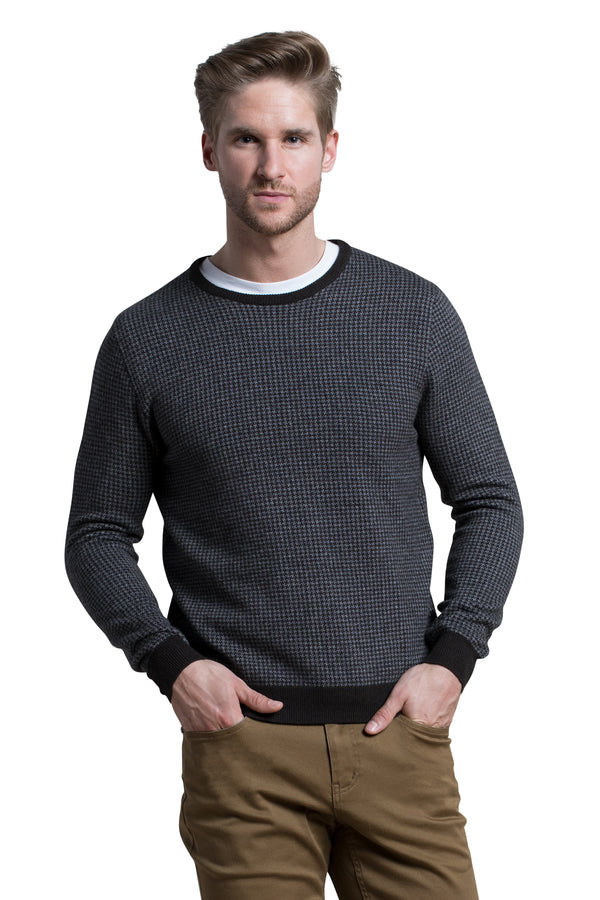 Houndstooth Crewneck Sweater in Dark Brown