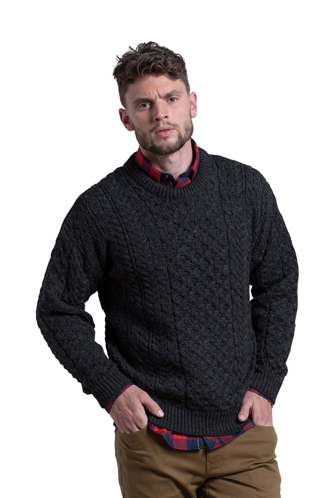 Worsted Wool Crewneck Sweater in Charcoal