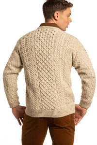 Merino Wool Crewneck Sweater in Oatmeal with Colour Flecks