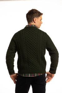 Merino Wool Crewneck Sweater in Forest Green