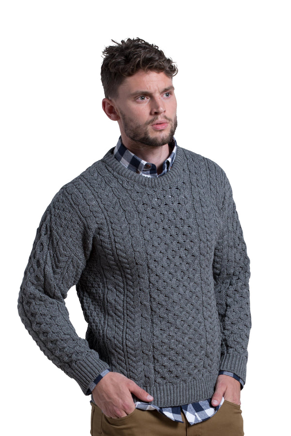 Merino Wool Crewneck Sweater in Slate Grey