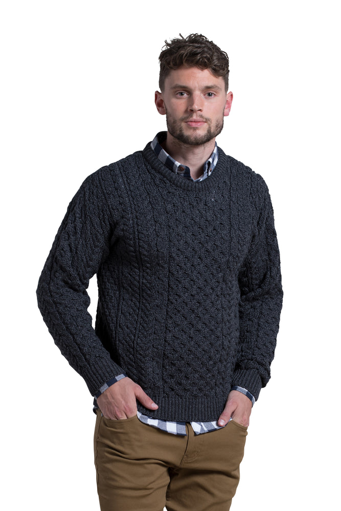 Merino Wool Crewneck Sweater in Granite Grey