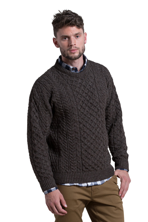 Worsted Wool Crewneck Sweater in Dark Mocha