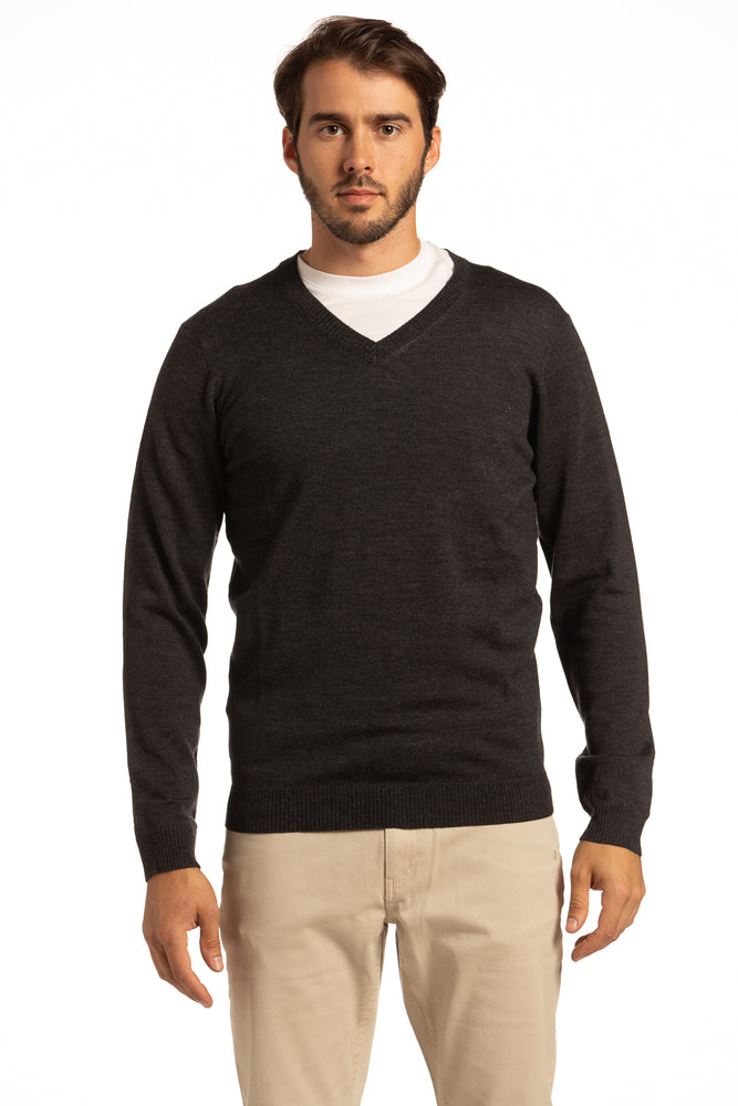 V-Neck Merino Wool Sweater in Charcoal