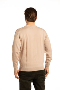 V-Neck Merino Wool Blend Sweater in Oatmeal