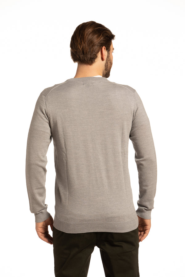 V-Neck Merino Wool Sweater in Light Grey