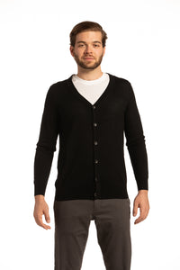 V-Neck Merino Wool Cardigan in Black