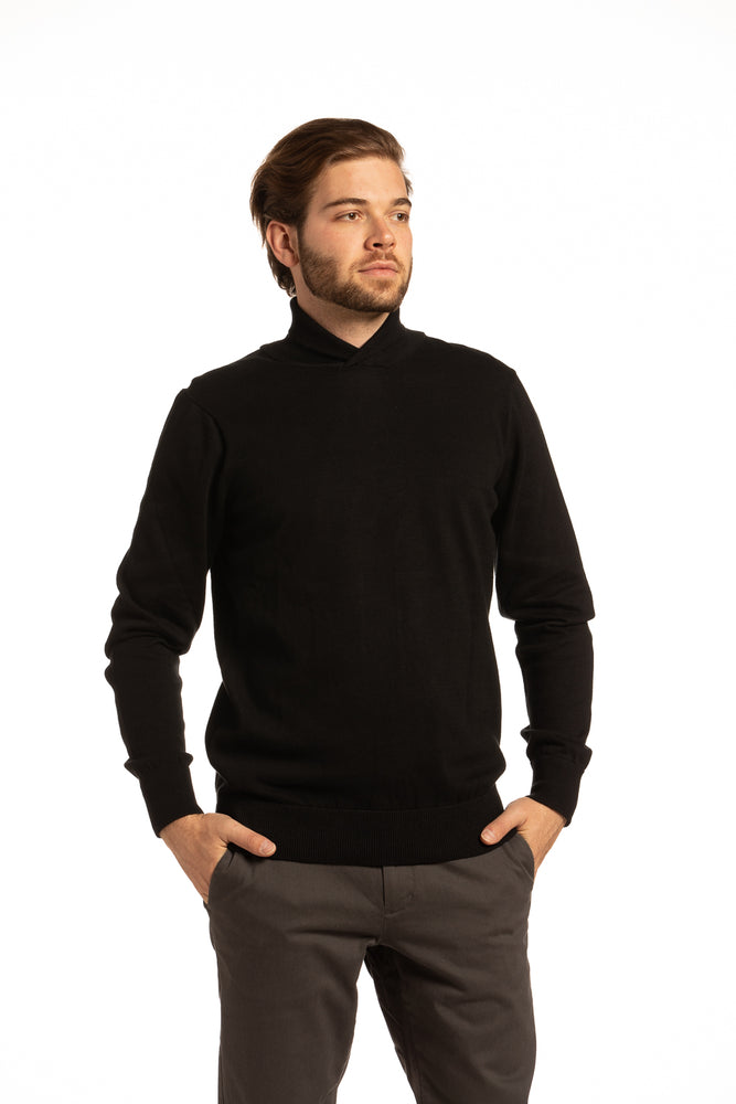 Cotton Cowl Neck Sweater in Black
