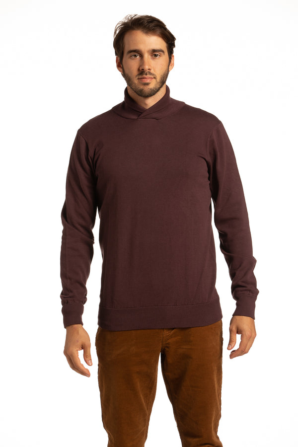 Cotton Cowl Neck Sweater in Dark Burgundy
