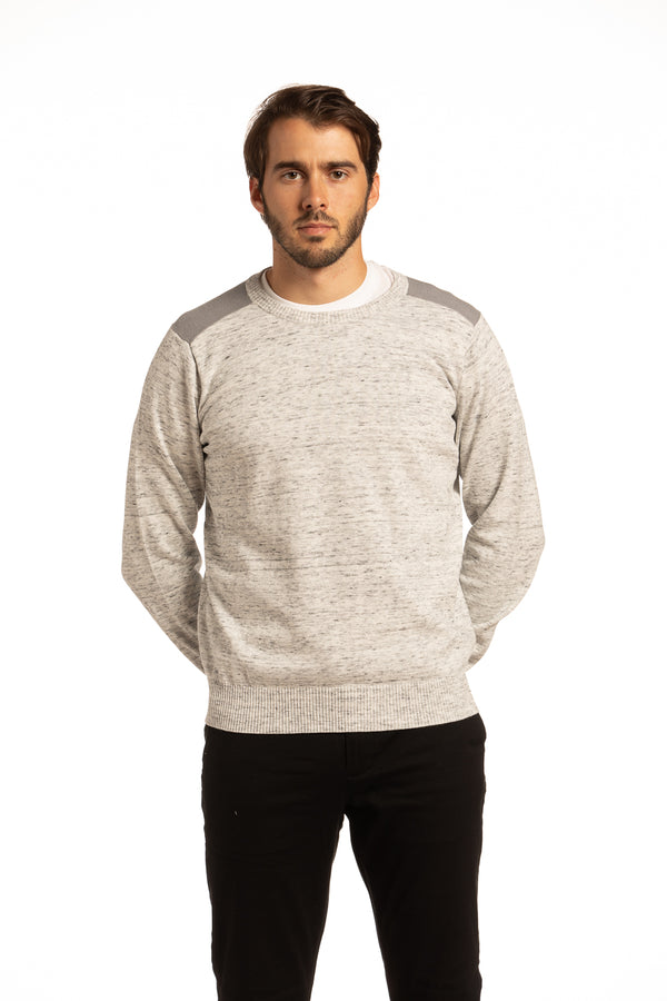 Contrast Fleck Yarn Crewneck Sweater with contrast Shoulders in Ecru / Grey