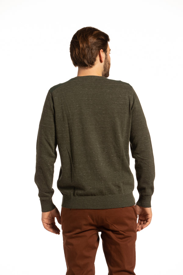 Contrast Fleck Yarn Crewneck Sweater with contrast Shoulders in Olive Green