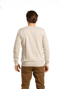 Donegal Cotton Crewneck Sweater in Ecru / Black Flecks
