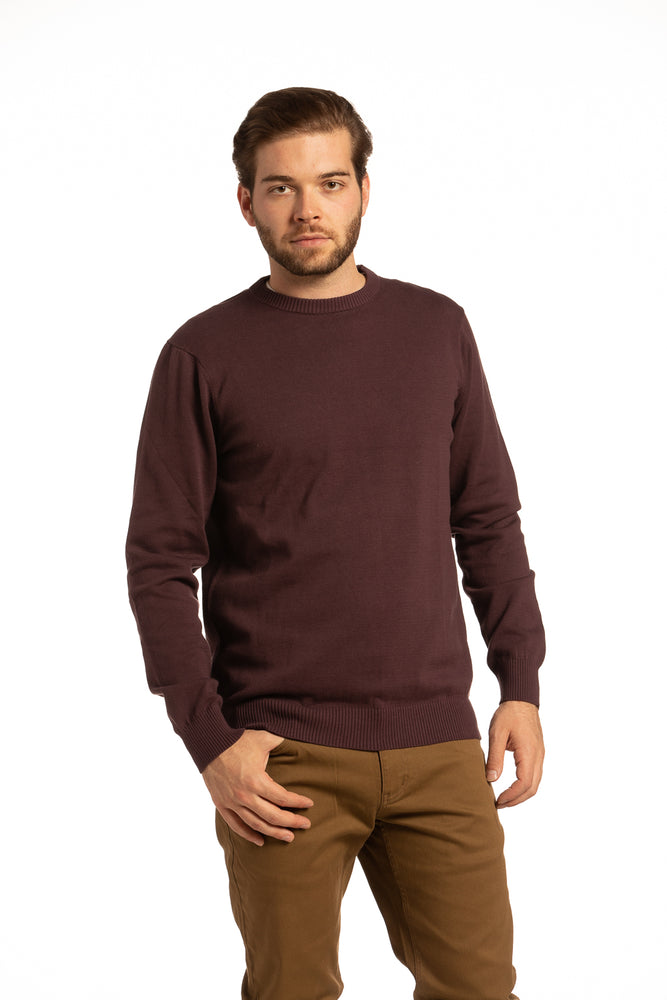 Cotton Crewneck Sweater in Dark Burgundy