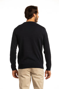 Cotton Crewneck Sweater in Navy