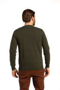 Cotton Crewneck Sweater in Dark Olive