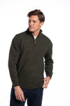 Donegal Blend Zip Neck Sweater - Green