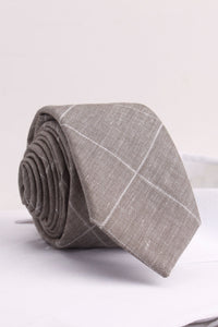 Windowpane Check Woven in Taupe