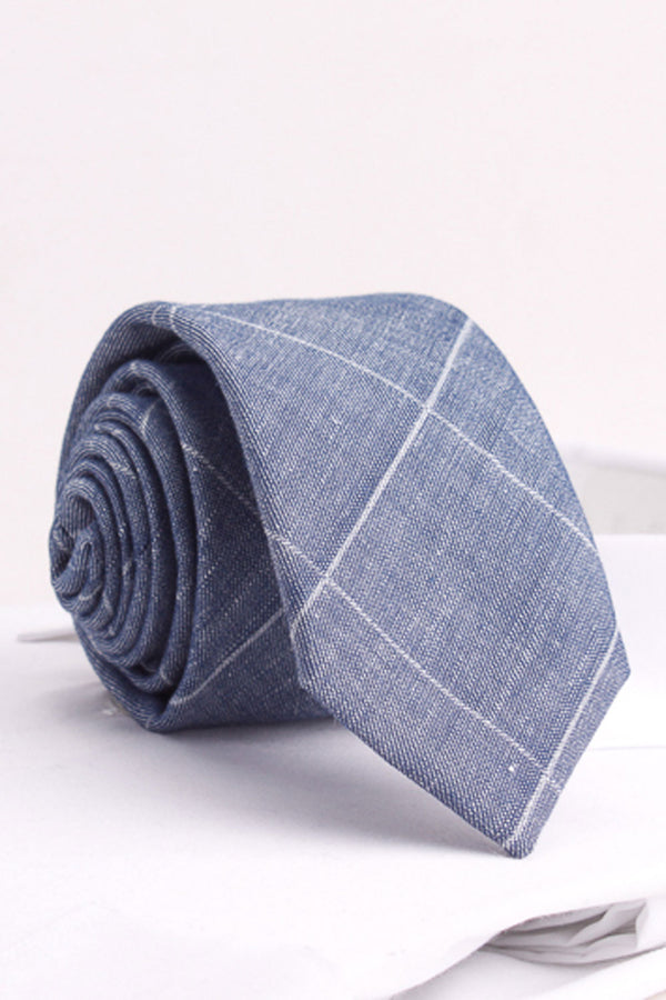Windowpane Check Woven Tie in Blue