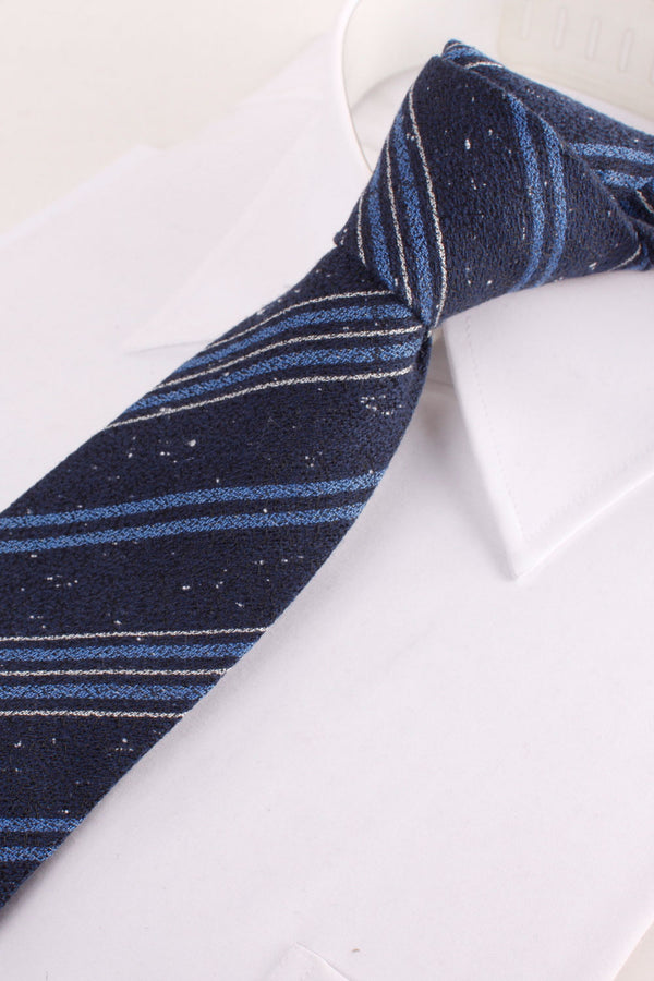 Club Woven Tie in Grey and Blue