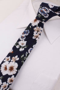 Navy Woven Floral Tie