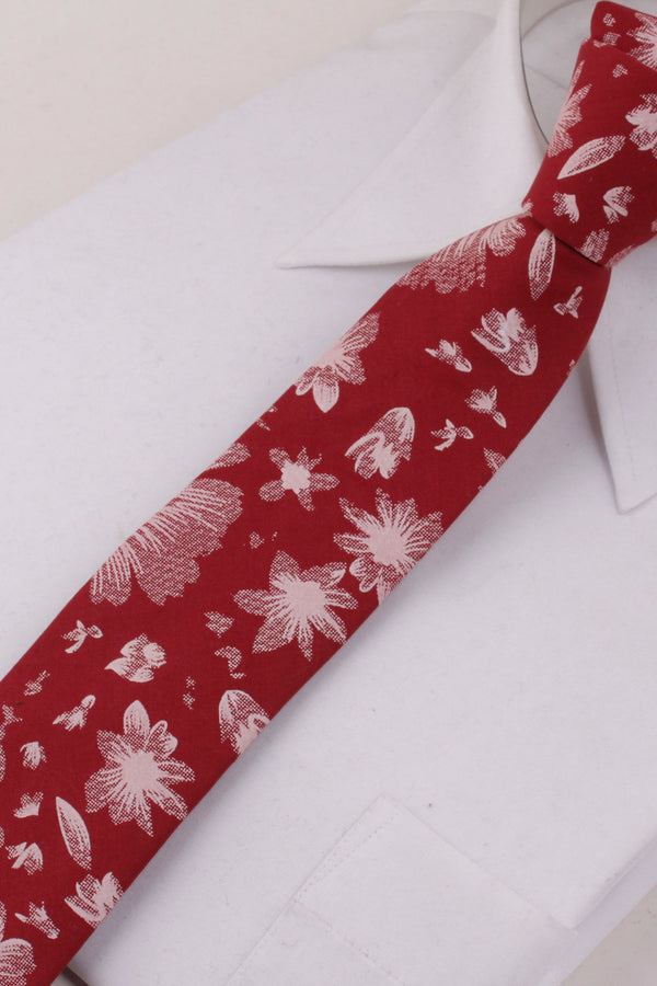 Petals Woven Tie in Cinnamon Red