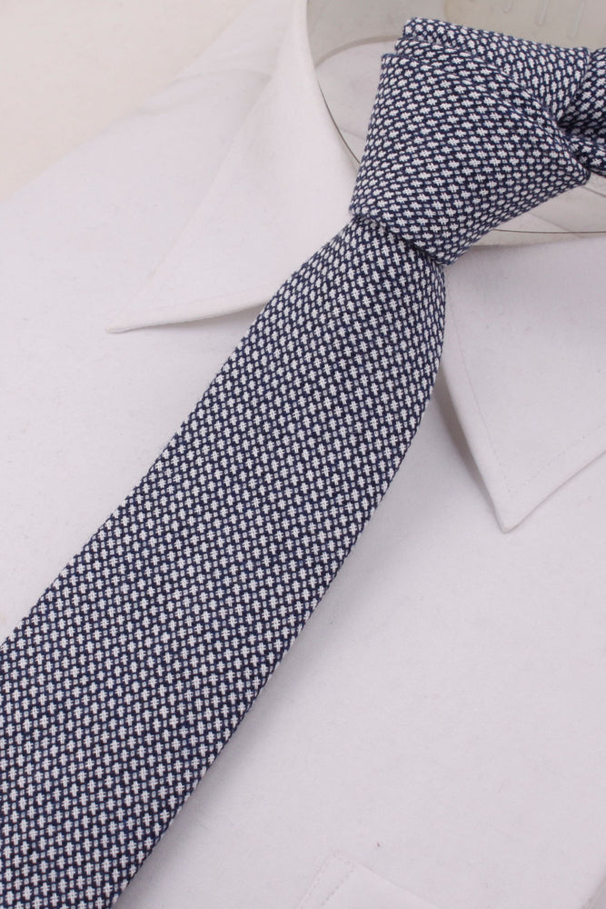 Micro Check Geometric Woven Tie in Grey / Navy