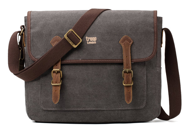 Troop London Heritage Canvas Leather Messenger Bag