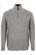 Donegal Blend Zip Neck Sweater - Grey